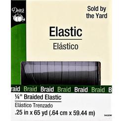 "White 1/4"" braided elastic 9430W"