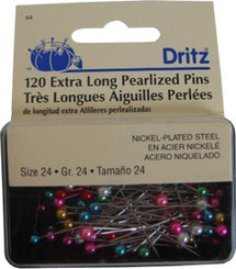 """Dritz Long Pearlized Pins 1 1/2"""" #64"""