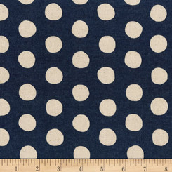 Sevenberry Canvas Natural Dots Midnight - Robert Kaufman fabrics
