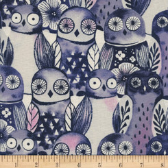 Eclipse Wise Owls - Night - Cotton + Steel fabrics