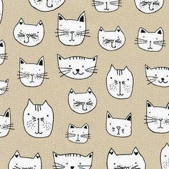 Whiskers & Tails Cat Heads Natural - Robert Kaufman fabrics
