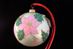 "Pink Poinsettia on Olive Bulb 12 Cm (Approx. 4 3/4"")"