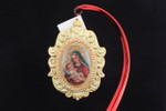Engraved Two-Tone Oval Frame | Picture of Madonna with Child