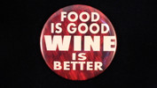 "Food is good, wine is better | 3 1/2"" magnet"