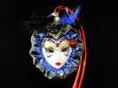 Mardi Gras Mask (Blue & Blk Feathers) - NEW 2019