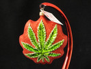 Cannabis Leaf ~ Red Background