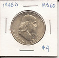 Franklin Half Dollar 1948 MS60