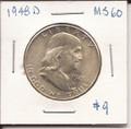 Franklin Half Dollar 1948 MS60