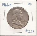Franklin Half Dollar 1962d VF