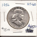 Franklin Half Dollar 1956 MS60