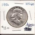 Franklin Half Dollar 1956 MS60