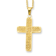 "CZ gold-plated cross with 22"" chain."