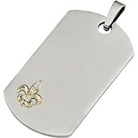 10K Yellow Gold and Stainless Steel Fleur-de-Lis Dogtag