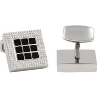Stainless Steel Square Cuff Links with Black Enameling