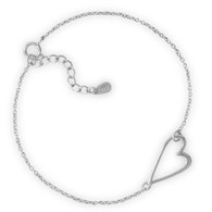 Rhodium Plated Sideways Heart Bracelet