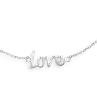 "Rhodium Plated Sterling Silver ""Love"" Necklace"