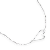Rhodium Plated Sterling Silver Sideways Heart Necklace