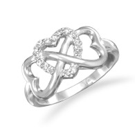 Rhodium Plated CZ Heart Infinity Ring