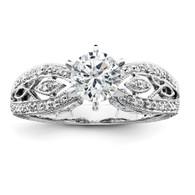 14k White Gold Peg Set AA Quality Semi-Mount Diamond Ring