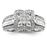 14K White-Gold Diamond Ring.