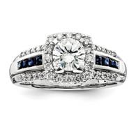 14k White Gold Diamond & Sapphire Semi-mount Ring