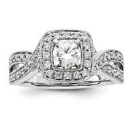 14k White Gold Diamond Semi-mount Ring