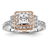 14k Two-tone Semi Mount Diamond Engagement Ring