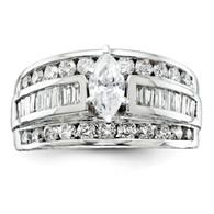 14k White Gold Diamond Semi-mount Ring,