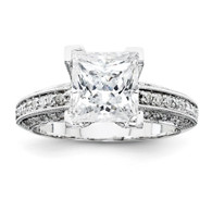 14k White Gold AA Diamond Semi-mount Ring