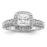 14k White Gold Diamond Engagement Ring,