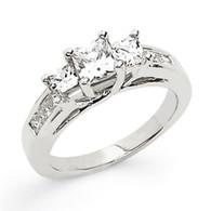 14K White Gold Diamond 3 Stone Princess Plus Semi-Mount