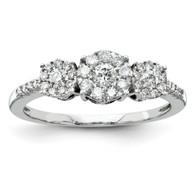 14K White Gold Diamond Three Stone Ring