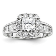 14k White Gold Semi-Mount Diamond Engagement Ring,