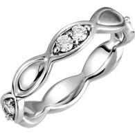 Platinum 1/3 ct tw Diamond Sculptural-Inspired Eternity Band