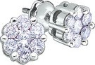 0.25CTW ROUND DIAMOND FLOWER LADIES EARRINGS
