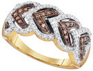 0.25CTW COGNAC DIAMOND FASHION RING