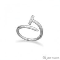 Rhodium Plated CZ Nail Wrap Ring