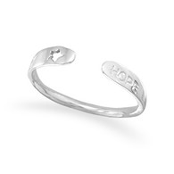 "Rhodium Plated Small Adjustable ""Hope"" Ring"
