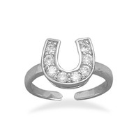 Rhodium Plated CZ Horseshoe Toe Ring