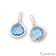 14 Karat Rose Gold Plated Blue Glass Drop Earrings