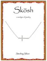 Skosh Brushed Sideways Cross Necklace