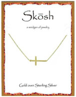 Skosh Brushed Sideways Cross- Gold Plated