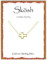 Skosh Open Sideways Cross- Gold Plated