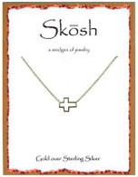 Skosh Small Open Sideways Cross - Gold Plated