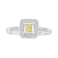 0.25CTW DIAMOND LADIES RING WITH YELLOW PRINCESS CENTER SQUARE
