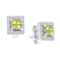 0.33CTW ROUND WHITE AND YELLOW DIAMOND LADIES INVISIBLE EARRING