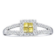0.33CTW DIAMOND LADIES RING WITH 4STONE PRINCESS YELLOW CENTER