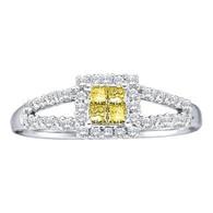 0.33CTW DIAMOND LADIES RING WITH 4STONE PRINCESS YELLOW CENTER