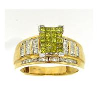 1.00CTW DIAMOND LADIES FASHION RING WITH SQUARE YELLOW PRINCESS