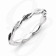 Sterling Silver Stackable Expressions Black & White Diamond Ring
